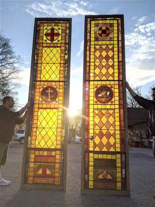 Pair Tall Vintage Stain Glass Windows.   Religious Them