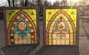 Pair Vintage Stain Glass Windows.   Religious Theme.