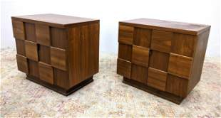 Pair Young Mfg. Paul Evans Style Side Tables. American