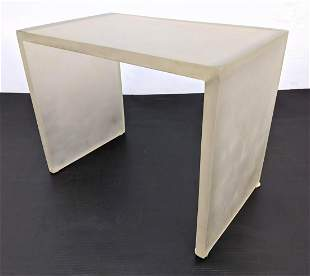 Frosted Lucite Acrylic Side Table Stand.