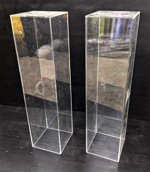 Pair Hollow Lucite Acrylic Pedestal Stands.