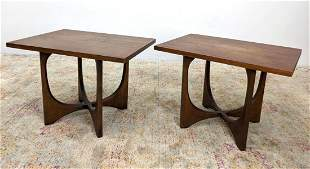 Pr BRASILIA by BROYHILL End Side Tables.  Modern Walnut