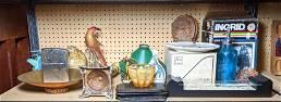 Shelf Lot. Murano Glass, Italian pottery, Metalware, et