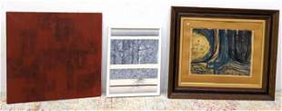 Three pieces art. Mostly Modernist Abstract.  Lithograp