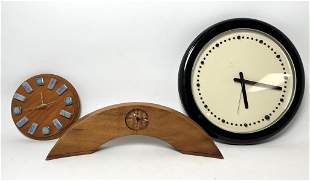 3pcs Clock Lot.  Tile and walnut, Arched wood, BARBIERI