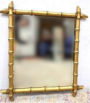 Faux Bamboo Framed Mirror. Gold painted wood.