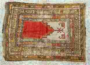 "5'1"" x 3'7"" Vintage Handwoven Prayer rug."