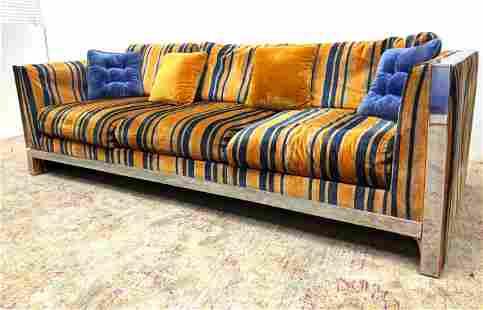 Milo Baughman style Chrome Frame Sofa Couch. Yellow, Bl