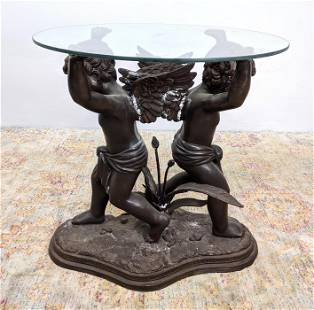 Signed MORGAN Bronze Angel Glass Top Center Hall Table.