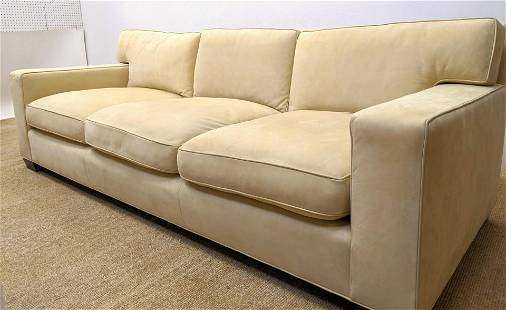 Contemporary Wide Arm Sofa Couch. Beige Ultra suede uph