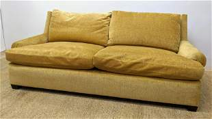 Gold chenille upholstered sofa couch. Rolled arms. Squa