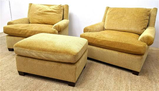 3pc Gold chenille upholstered Lounge Chairs Ottoman. Ro