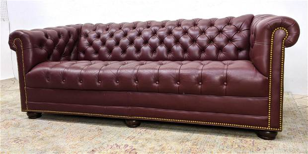 HANCOCK & MOORE Leather Chesterfield Sofa Couch. Madeir