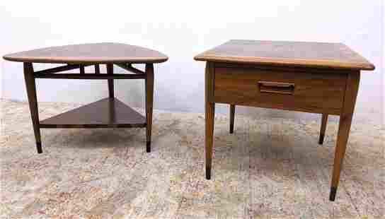 2pc LANE American Modern Walnut Side End Tables. Each t