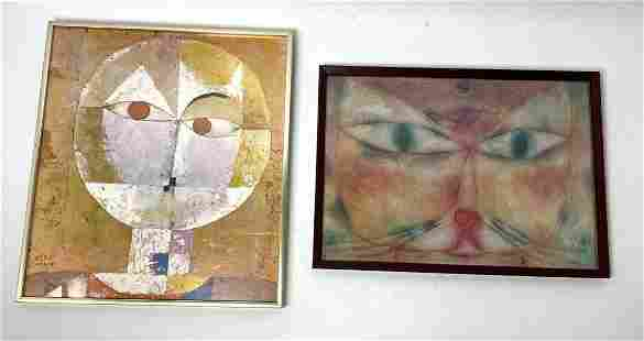 2pc after Paul Klee Artwork. Face Portrait and Cat.