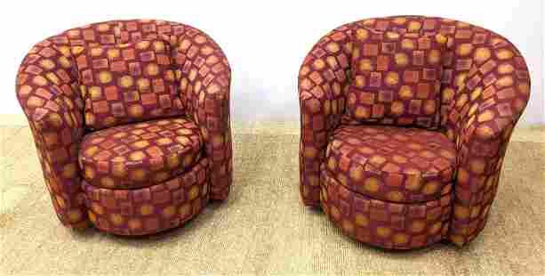 Pr Fully Upholstered DREXEL Swivel Lounge Chairs. Prece