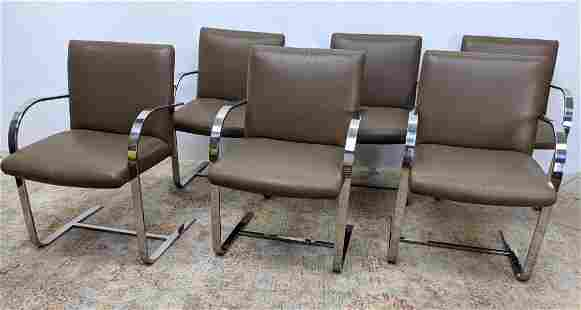 Set 6 BRNO style Chrome Arm Chairs. Cantilever seat in