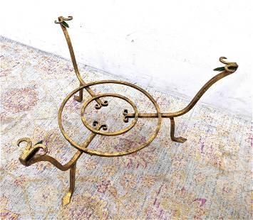 Round Gilt Iron Table Base. Three legs with decorative