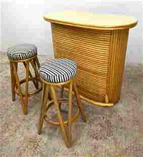 3pc Gabriella Crespi style Bamboo Bar Set. Small Stand