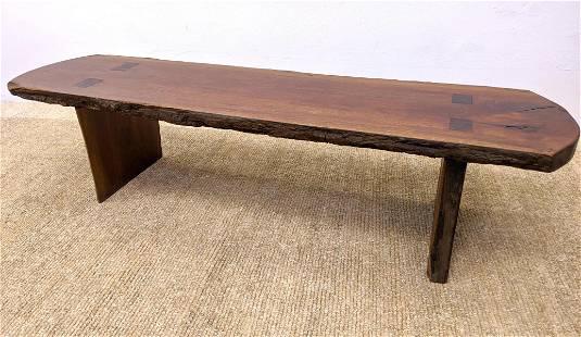 Natural Wood Slab Freeform Edge Bench Table. Beveled Sl