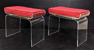 Pr Modernist Lucite Vanity Benches Stools. Clear Lucite