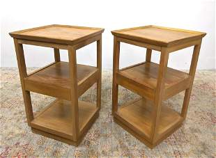 Pr DREXEL EDWARD WORMLEY Side End Tables. Open Frame On