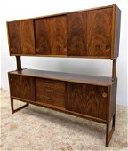 Nicely figured Rosewood Credenza Hutch. Lower cabinet r