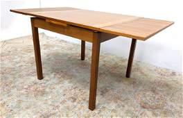 Danish Modern Teak Refractory Dining Table. Wide Banded