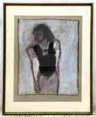 Michael Shanoski Pastel charcoal drawing of woman. Sign
