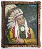 O.C. SELTZER Indian Chief Portrait Painting on Canvas.