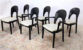 Set 6 Ebonized Danish Modern Dining Chairs. Two Arms. F