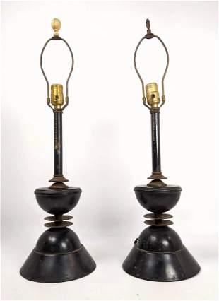 Pr Vintage Modernist Metal Table Lamps. Black finish wi