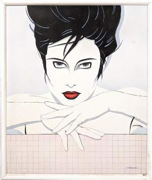 Signed 80s portrait painting of woman with red lips. Pa