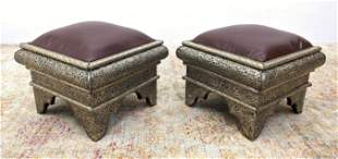 Pr Moorish Tooled Metal Foot Stools Ottomans. Purple Vi