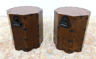 Pr Asian style Octagonal Wood Tables Storage Chests Sto