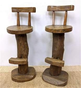 Pr Primitive Rustic Wood Bar Stools. Natural Tree Limb
