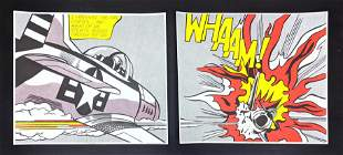 Two piece Roy Lichtenstein Whaam! Printed posters. Two