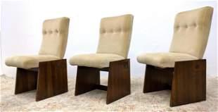 Set 3 Designer Side Chairs. Bases with wood slab side p