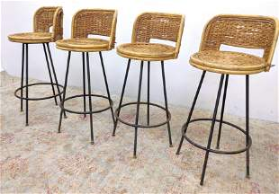 Wicker Rattan and Bamboo Bar Stools.
