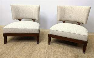 Pair BAKER Lounge Chairs.  Wide seats with curved backs