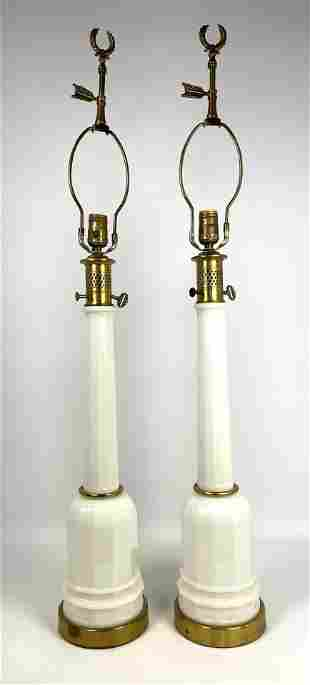 Pair Tall Faceted Glass Table Lamps.