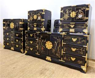 Asian Style Black Lacquer Painted Bedroom Set. High che