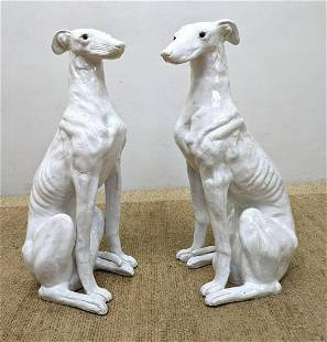 Pair French Pottery Dog Sculptures. Glass eyes.