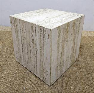 Travertine Marble Cube Side Table. Low Pedestal. Modern