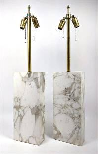 Pr Walter Nessen style Marble Column Table Lamps. Recta