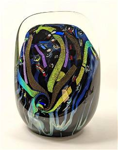 ROLLIN KARG Heavy Art Glass Sculpture. Colorful.