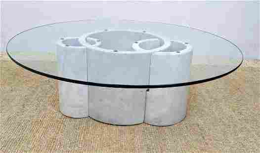 Gae Aulenti Style Marble and Glass Coffee Table. Three