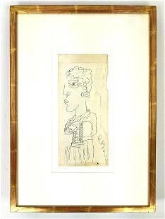 Original ROMARE BEARDEN Signed Drawing of Figure. Drawn