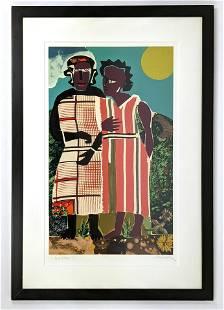 ROMARE BEARDEN Original Color screen print. Two Women.