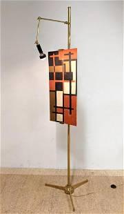 ARREDOLUCE Labeled Brass Easel Lamp. ANGELO LELII Floor